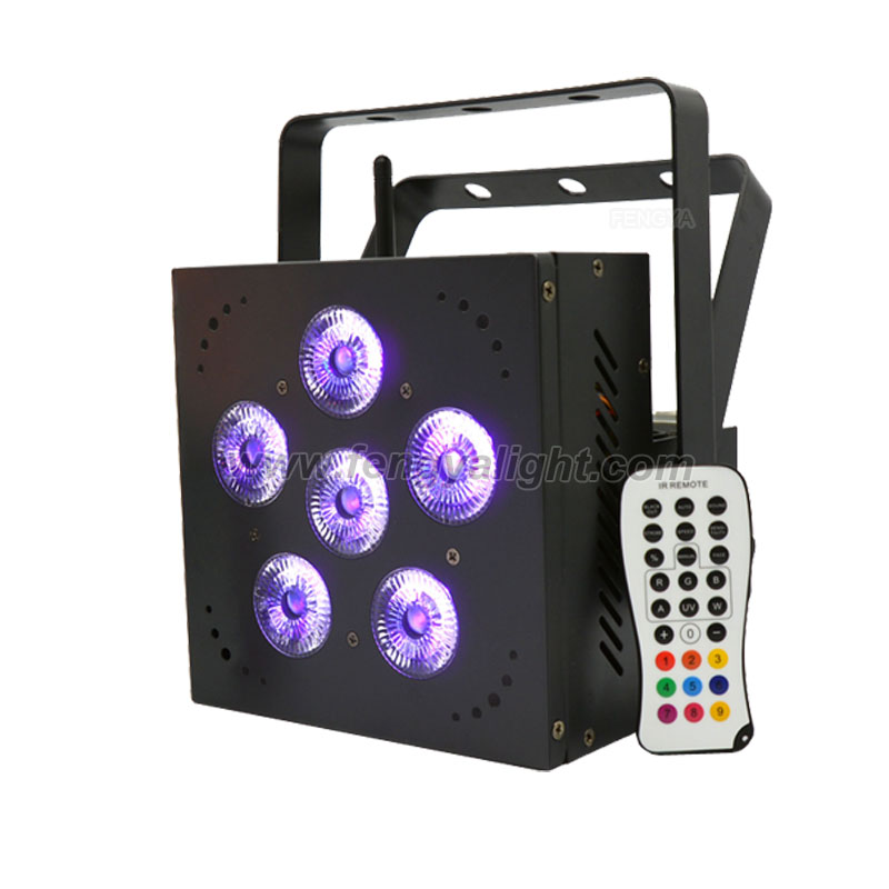 6pcs 18W 6 in 1 battery powered wireless dmx  led par can stage light