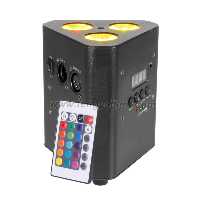 3x10w 4 in 1 rgbw battery powered remote wedge led par light