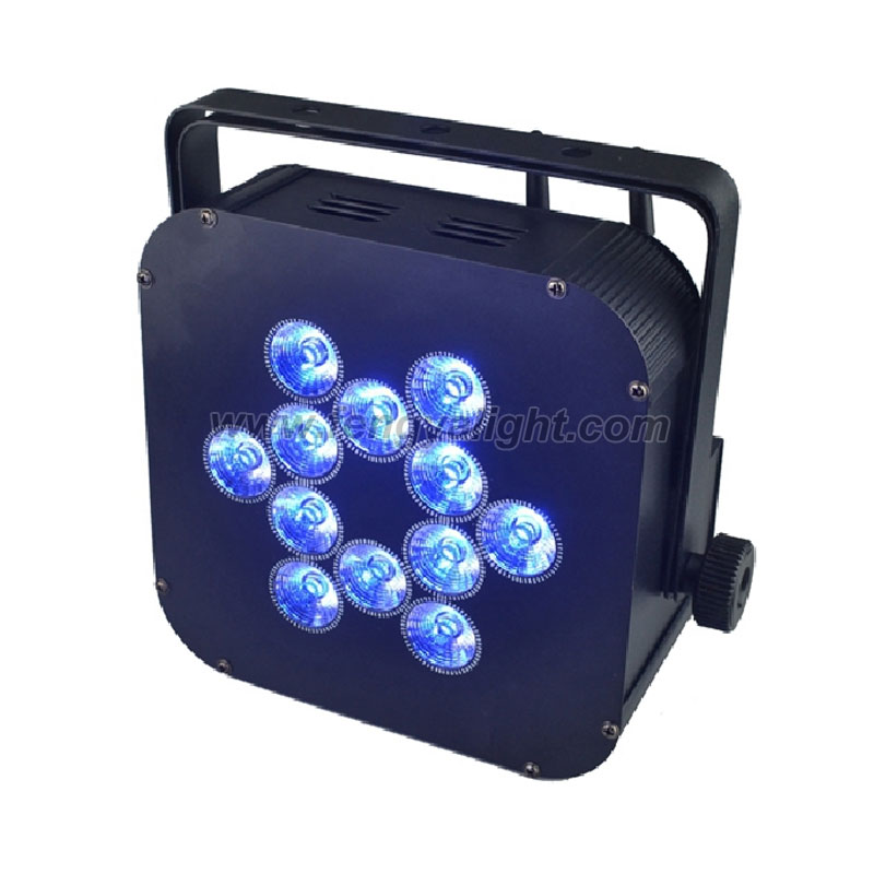 12 x12w RGBAW UV 6 in 1 battery wireless led flat par can uplights