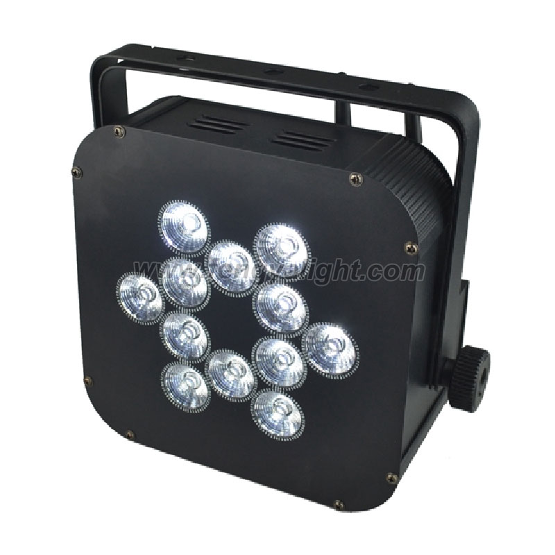 12 x12w RGBAW UV 6 in 1 battery wireless led flat par can uplights
